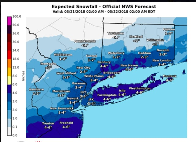Accumulating snow is likely Wednesday with 2 to 4 inches of heavy, wet snow likely for much of the tristate region, and as much to half a foot farther east.