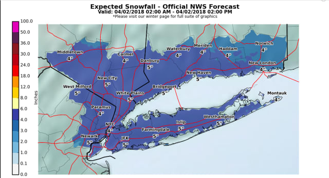 A look at projected snowfall totals for the storm, released by the National Weather Service early Sunday morning
