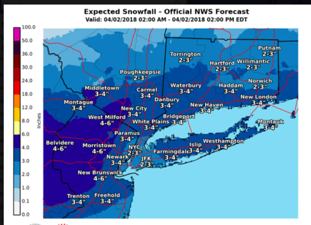 A look at projected snowfall totals for the storm, released by the National Weather Service.