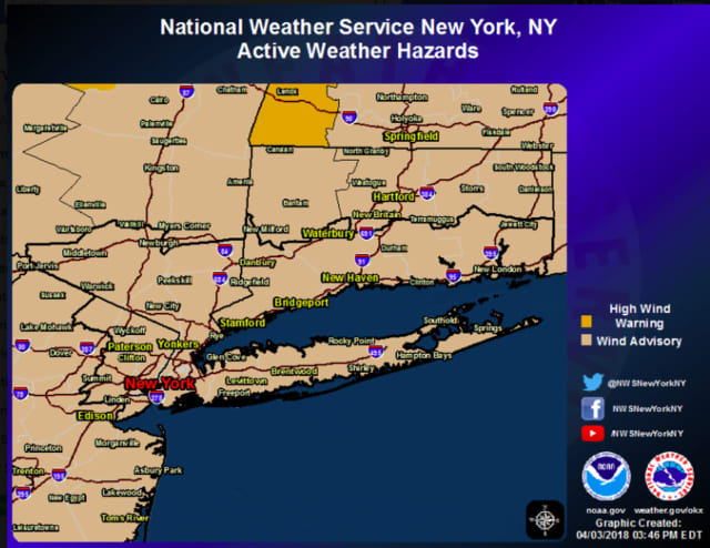 A Wind Advisory has been issued for the entire region.