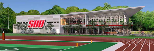 Artist's rendering of the new Bobby Valentine Athletic Center to be built by August 2019 at Sacred Heart University.