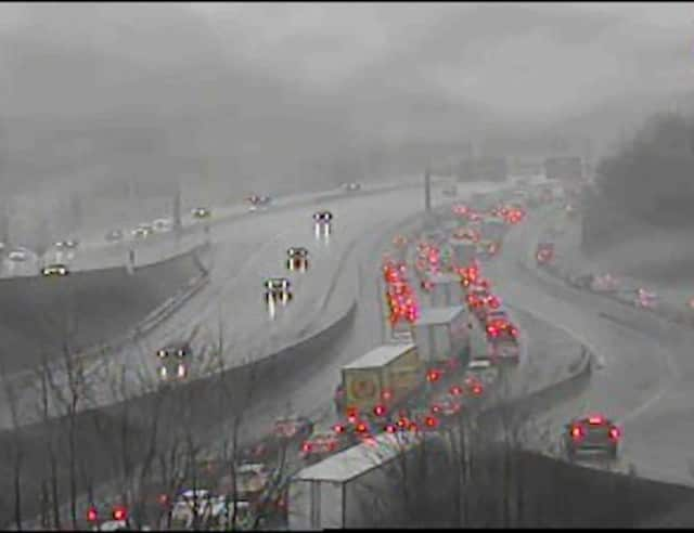 A look at conditions on I-287 at I-87 in Westchester just before 9 a.m. Thursday.