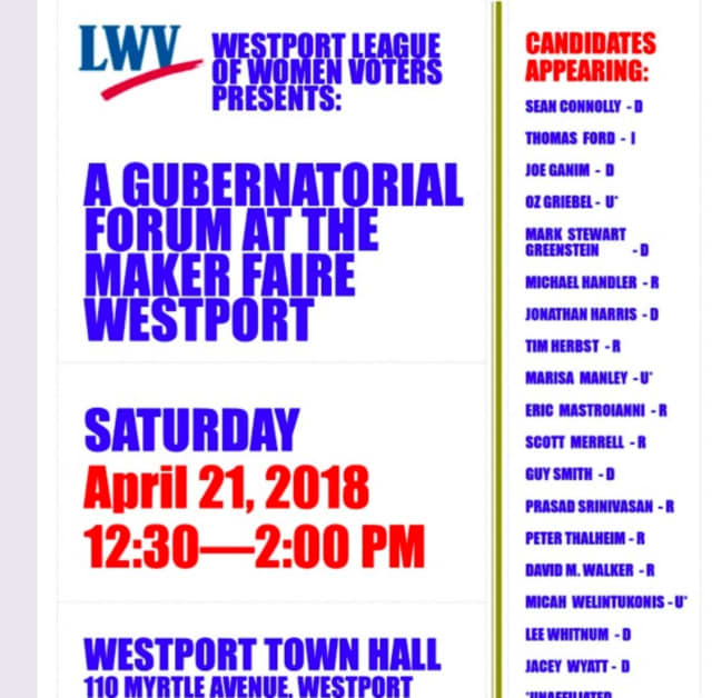 A total of 18 candidates are invited to Saturday's League of Women Voter's gubernatorial forum in Westport.