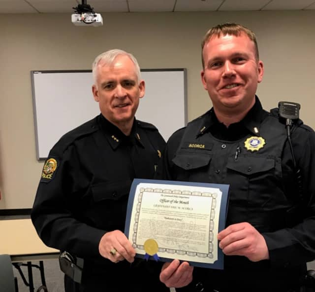 Lt. Eric Scorca was recognized by Chief James Heavey, as the Officer of the Month.