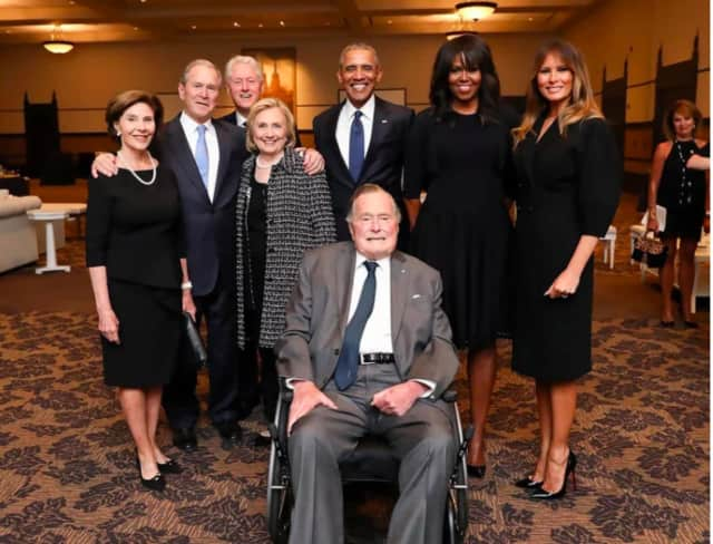 Former President George H.W. Bush at the funeral of his wife, Barbara Bush, in Houston on Saturday, April 21, 2018. From left: Laura Bush, George W. Bush, Bill Clinton, Hillary Clinton, Barack Obama, Michelle Obama, Melania Trump.