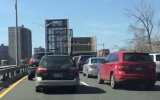 A stuck drawbridge on the Hutch is backing up traffic.