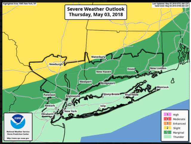Areas in green and light green have the highest chance of seeing storms.