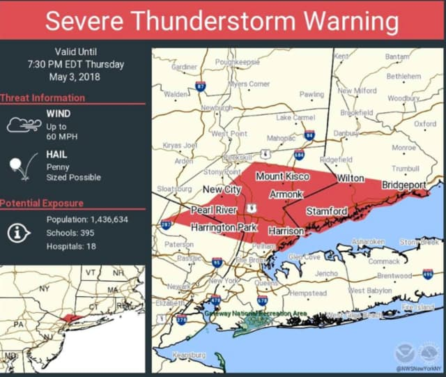 Showers and thunderstorms capable of producing damaging winds are moving through the area from west to east, prompting the National Weather Service to issue a Severe Thunderstorm Warning.