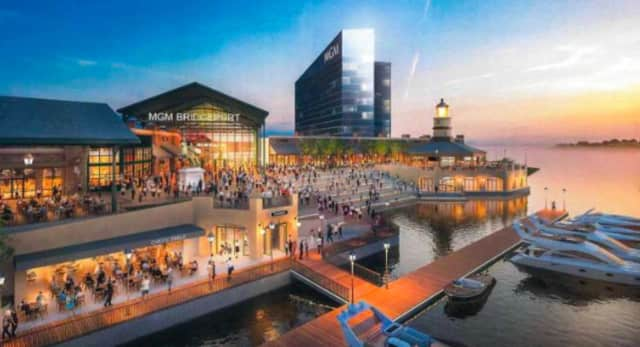An artist's rendering of the MGM Bridgeport Resort Casino and  Entertainment under consideration.