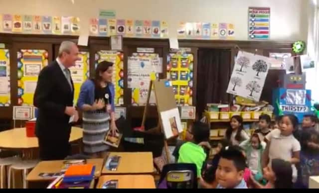 Governor Phil Murphy surprised Hackensack teacher Norma Hernandez and her students on Tuesday.