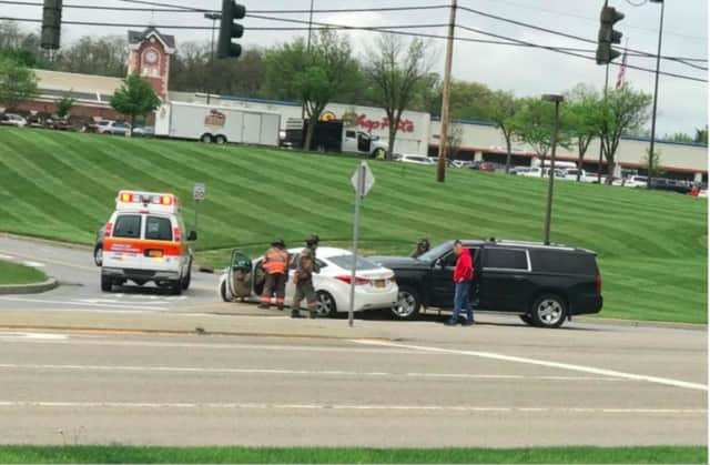 A crash between an SUV and a car tied up traffic on a stretch of Route 9 on Monday afternoon.