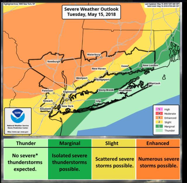 Numerous severe storms are possible in areas shown in orange. Scattered severe storms are possible in areas in yellow.