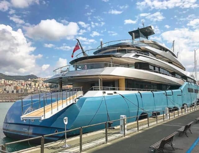 The Aviva is a $300 million yacht owned by British billionaire Joe Lewis. It's parked on the Hudson River in Fort Lee and can be seen from the PIP.