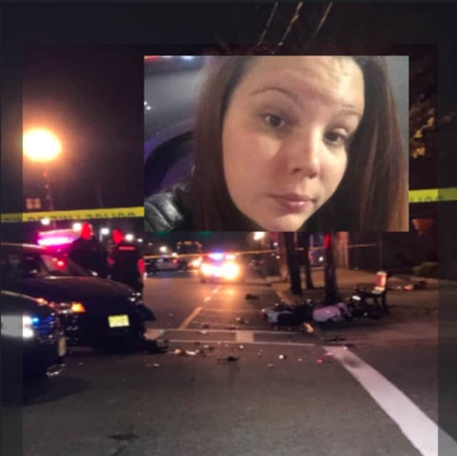 Katie Kristner was struck by a car while riding her motorcycle in Hasbrouck Heights.