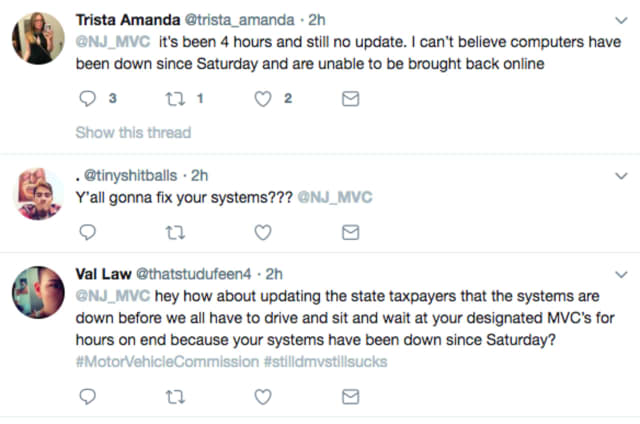 Angry DMV goers took to Twitter to express their rage over a downed computer system.