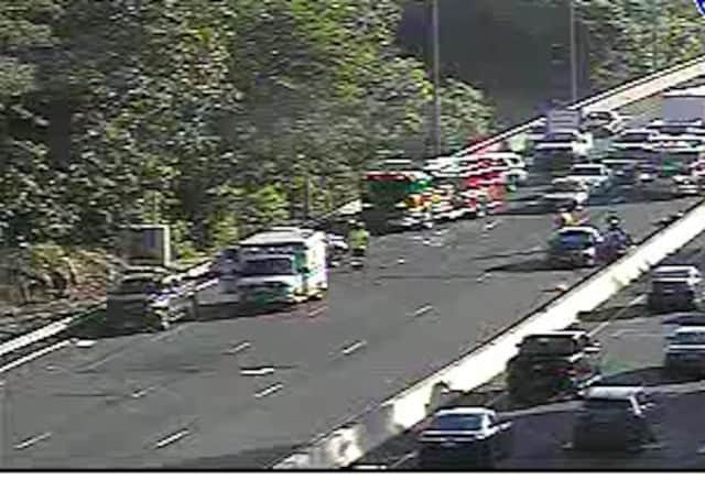 A crash that took out two lanes caused gridlock on I-95 in Westchester, stretching to the Fairfield County border during the Tuesday morning commute.