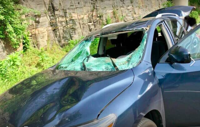 The incident occurred on Route 8 in Trumbull when the deer ran onto the highway in front of the car shown above as the woman was driving southbound near exit 8.