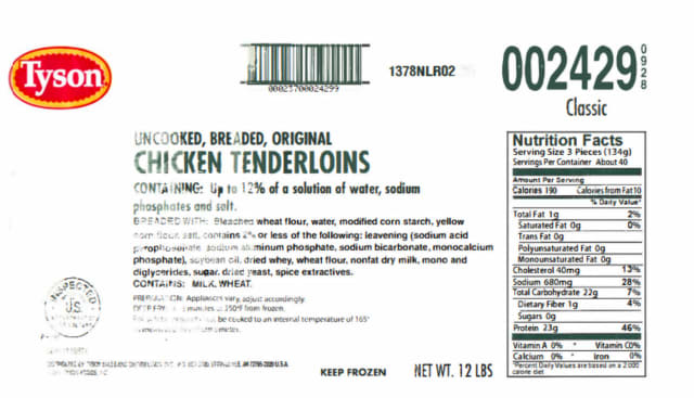 A look at the label of the recalled Tyson chicken product.