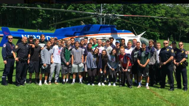 A Westchester County Police helicopter crew paid a visit to Yorktown and Lakeland high schools.