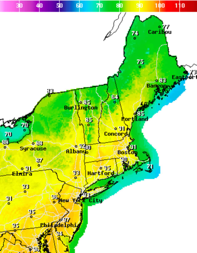 Temperatures are expected to hit the mid-to-high 90s Sunday and Monday.