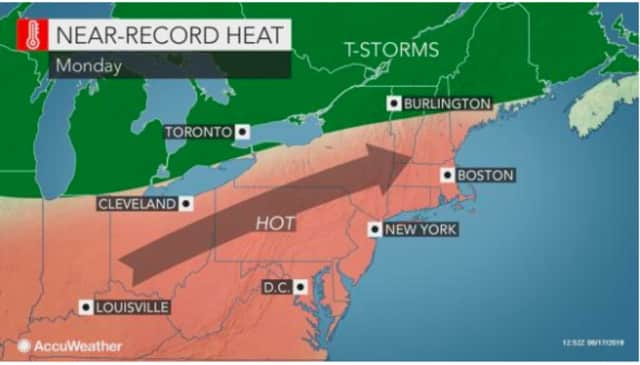 The heat index -- combination of the actual temperature and humidity -- is expected to be around 100 degrees on Monday.