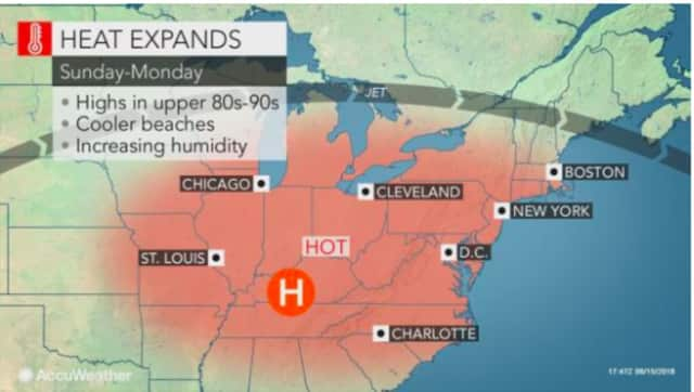 A look at the hot weather pattern to start the week.