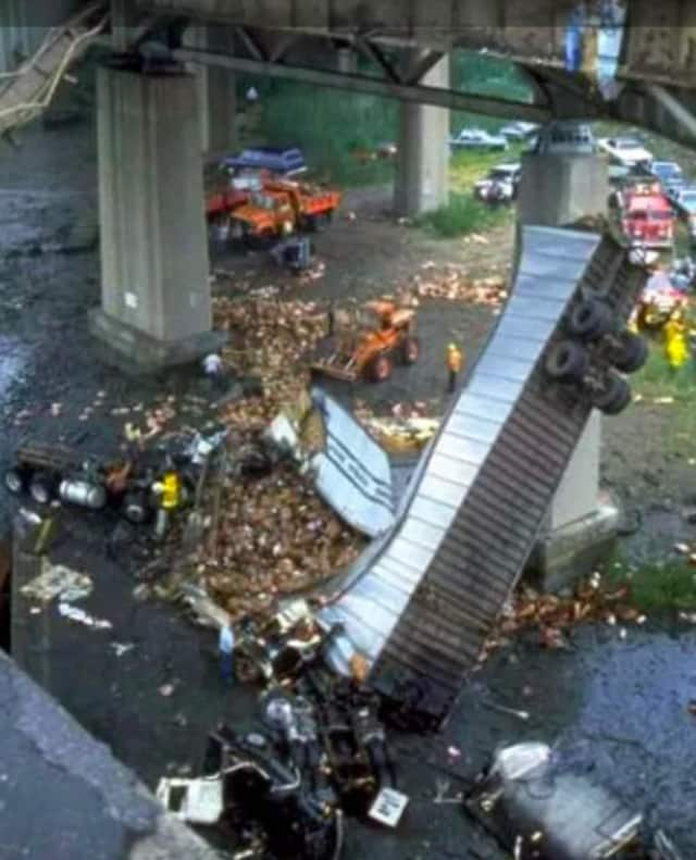 The aftermath of the June 28, 1983, collapse of part of the Mianus River Bridge along I-95 in Greenwich.