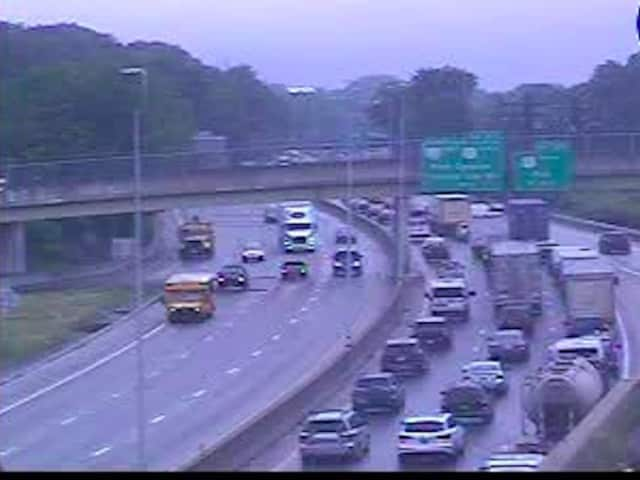 A look at delays on northbound I-95 in Rye.
