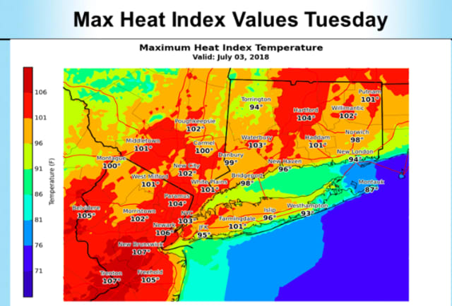 The heat index will hit 100 degrees or more for much of the area on Tuesday.