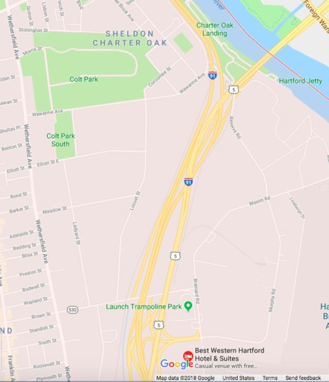 The area of southbound I-91 where the crash occurred.