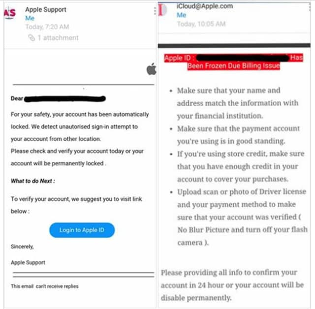 Two of the emails making the rounds in the Apple email scam.