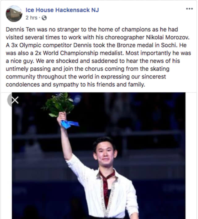 Denis Ten trained at the Ice House in Hackensack with his choreographer.