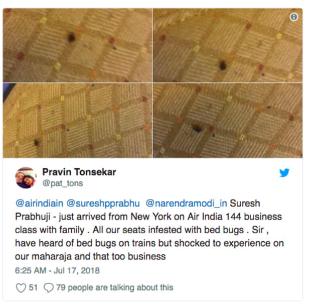 Passengers are reporting bed bugs on Air India flights from Newark.