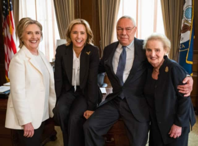 "Hillary Clinton, Colin Powell and Madeleine Albright are the real former U.S. Secretaries of State set to appear on CBS' ""Madam Secretary"" during its Oct. 7 season premiere."