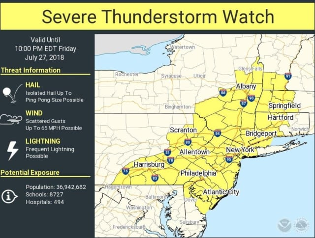 A look at the areas where the Severe Thunderstorm Watch is in effect.