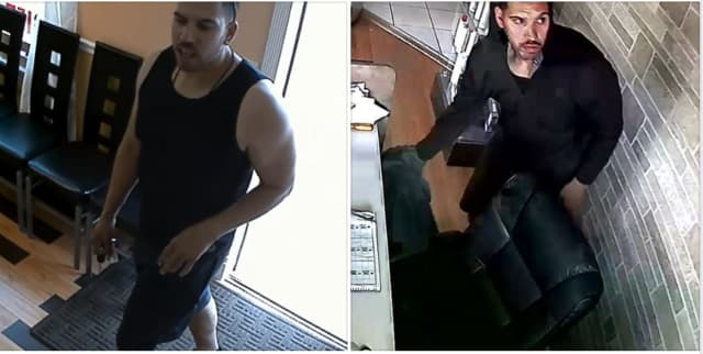 Two separate photos of the burglary suspect.