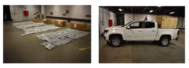 Police found the 204 pounds of pot, left, in a large wooden container in the bed of the pickup truck (shown at right).