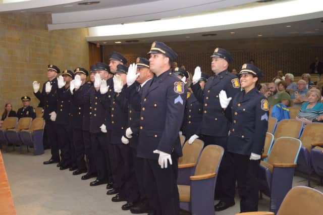 Nearly two dozen police officers in Yonkers were promoted and celebrated for their accomplishments in the city.