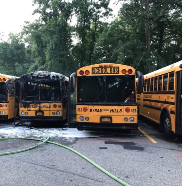 Three school buses caught fire in Armonk on Saturday.