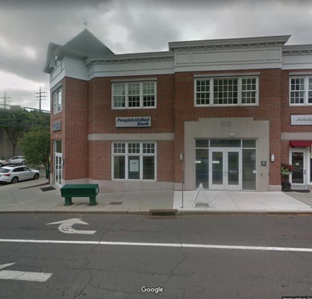 A man was arrested for urinating in front of customers at the People's United Bank.