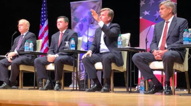 Four of the five finalists in the Republican Party primary for governor at a recent debate. The primary election is on Tuesday, Aug. 14.