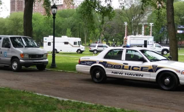Police are on the scene of a massive overdose at New Haven Green park.