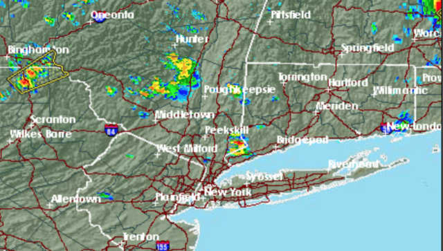A radar image at 4 p.m. Friday shows storms sweeping through the area.
