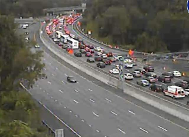 A look at delays on northbound I-87 in Tarrytown after a crash at the start of the new TZB span.