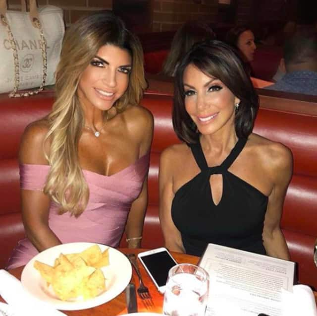 RHONJ stars Teresa Guidice and Danielle Staub at Houston's Steakhouse Saturday in Hackenasck.