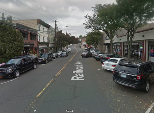 Railroad Avenue in Greenwich, where the man allegedly exposed himself and urinated on a Connecticut Transit bus.