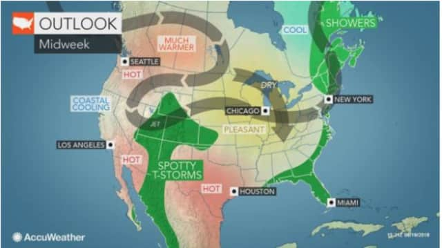 A look at the midweek weather pattern.