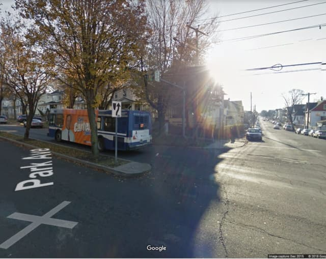 A child was hit by a car at the intersection of Park Avenue and Maplewood Avenue in Bridgeport.