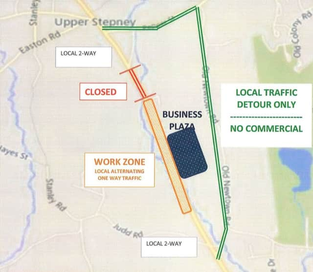 There will be a posted detour on Route 25 in Monroe.