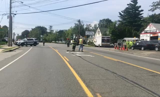 A gas line break by construction workers has closed part of Route 59 in Monsey.